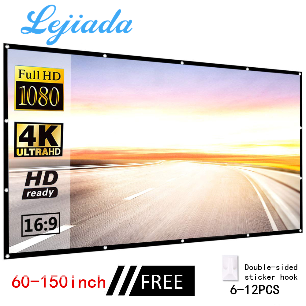 LEJIADA 30 60 72 84 92 100 120 150 Inch Simple Folding Screen Portable Home Outdoor KTV Office 3d HD Proyector Projection Screen