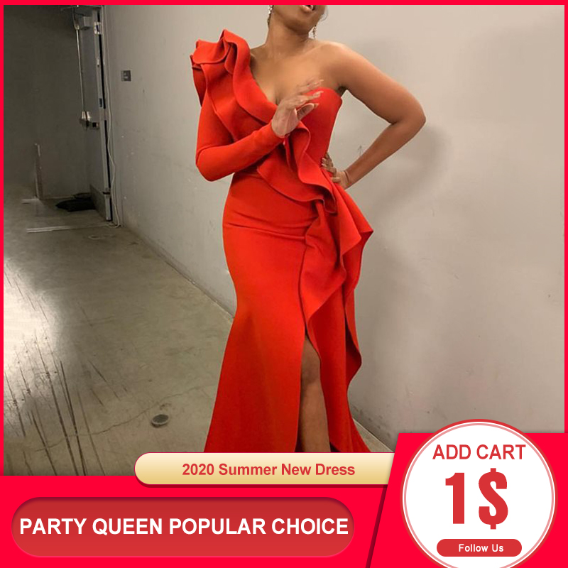 African Style Elegant Party Sexy Evening Women Long Dresses One Shoulder Bodycon Split Female Ruffles Maxi Red Dress Plus Size 1