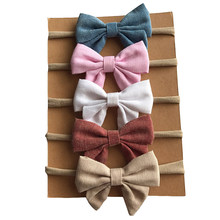 4pcs/lot Kids Bow Nylon Headbands Cute Soft Linen Fabric Hairbands Bow-knot Elastic Customized Simple Hair Accessories For Girls