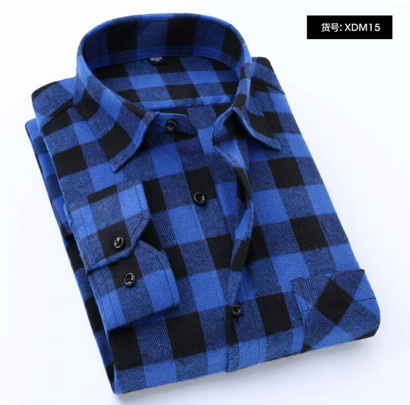 Men's Plaid Flannel Shirt Slim Fit Soft Spring Male Shirt Brand Men's Business Casual Long-sleeved Shirts