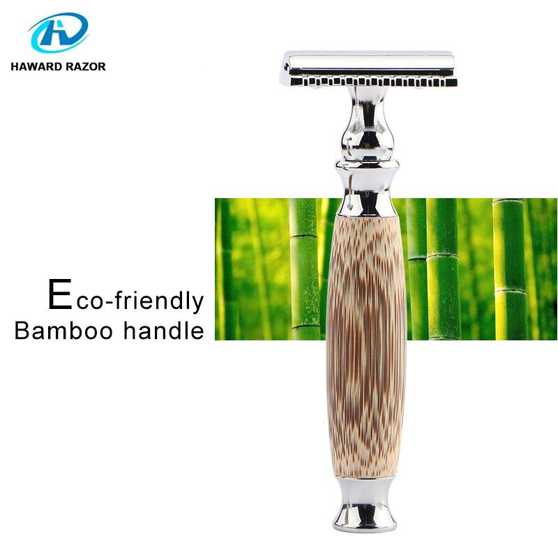 HAWARD Double Edge Safety Razor Bamboo Handle Classic Manual Razor  Eco-friendly Women Hair Removal Shaver 10 Shaving Blades