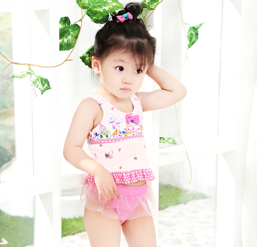 2019 New Style KID'S Swimwear Small Children Pink Floral-Print Bow Mesh Dress Cute GIRL'S Hot Springs Split Type Swimwear