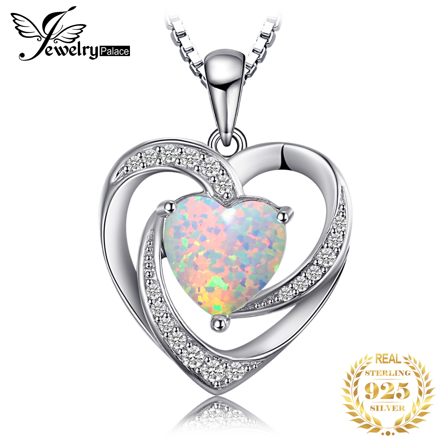 JewelryPalace Heart Created Opal Pendant Necklace 925 Sterling Silver Gemstones Choker Statement Necklace Women Without Chain