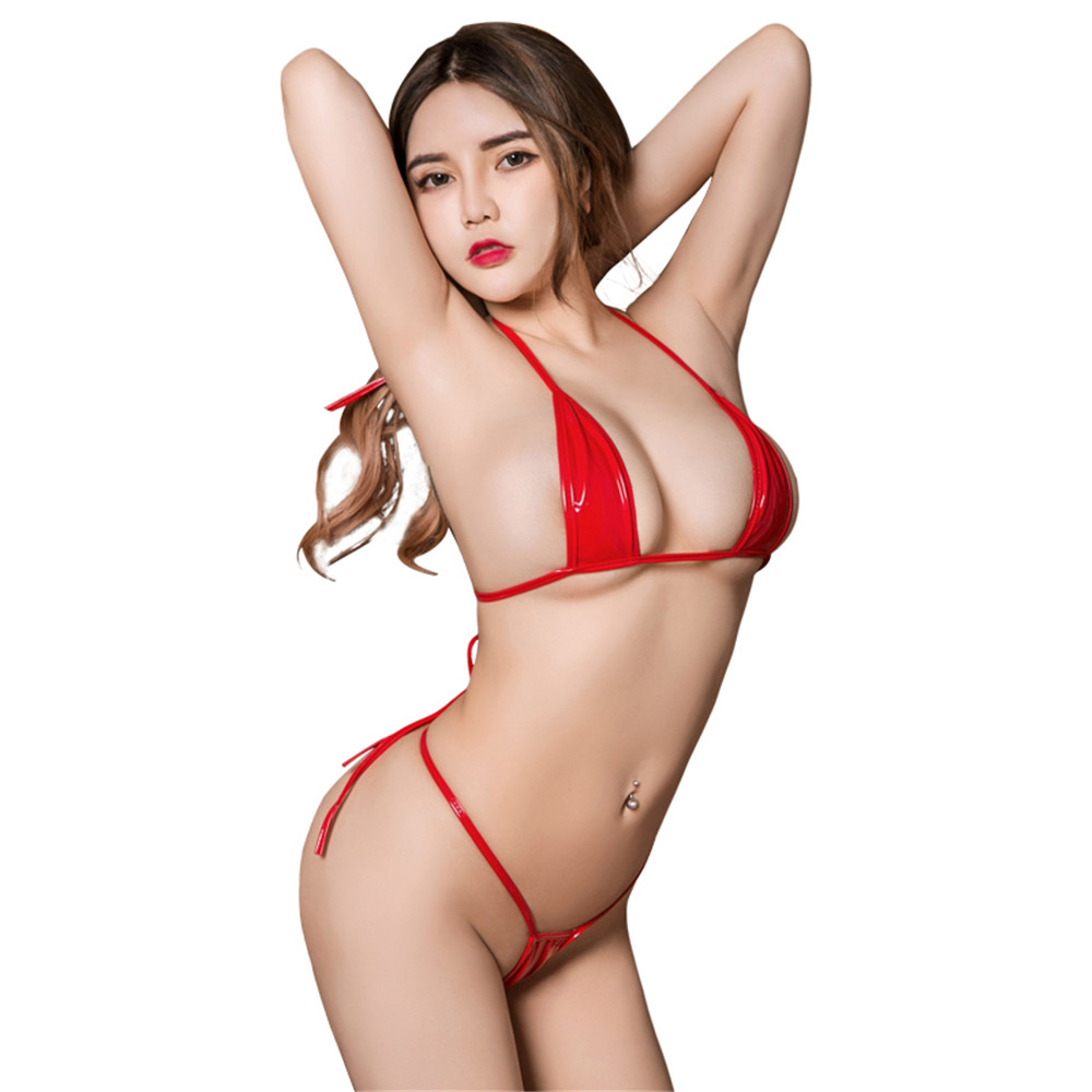 sexy micro bikini 2019 Patent leather Pure color Bandage Adjustable Super small sexi bikinis set swimwear women swimsuit biquini-3