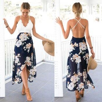 Aproms Women Summer Dresses Sexy V-Neck White Lace Patchwork Floral Party Dress  Sundresses Long Chiffon Beach Dress 2020 1