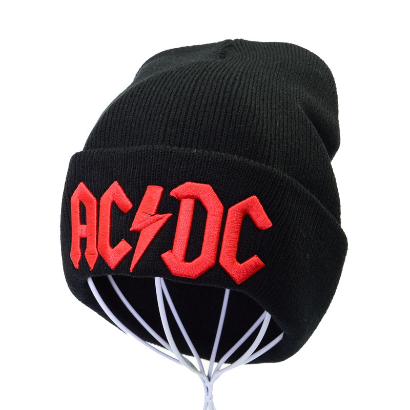 ACDC Rock Band Cap Winter Beanie Hat Warm Women Knitted Hats Unisex Fashion Out Door Warm Knitting Beanie Caps Ski Cap 3 Colors