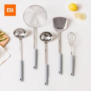 Image 1 - Xiaomi J & J נגד קורוזיה נירוסטה מרק כפית/מסננת/מרית/מסנן/ביצת מקצף PP ידית אנטי רותח מטבח גאדג טים