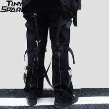 Calças de carga de hip hop streetwear 2019 harajuku calças com zíper traseiro fivela fita hiphop corredores harem calças bolsos outono preto