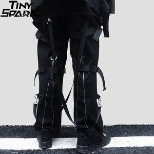 Image 1 - Calças de carga de hip hop streetwear 2019 harajuku calças com zíper traseiro fivela fita hiphop corredores harem calças bolsos outono preto