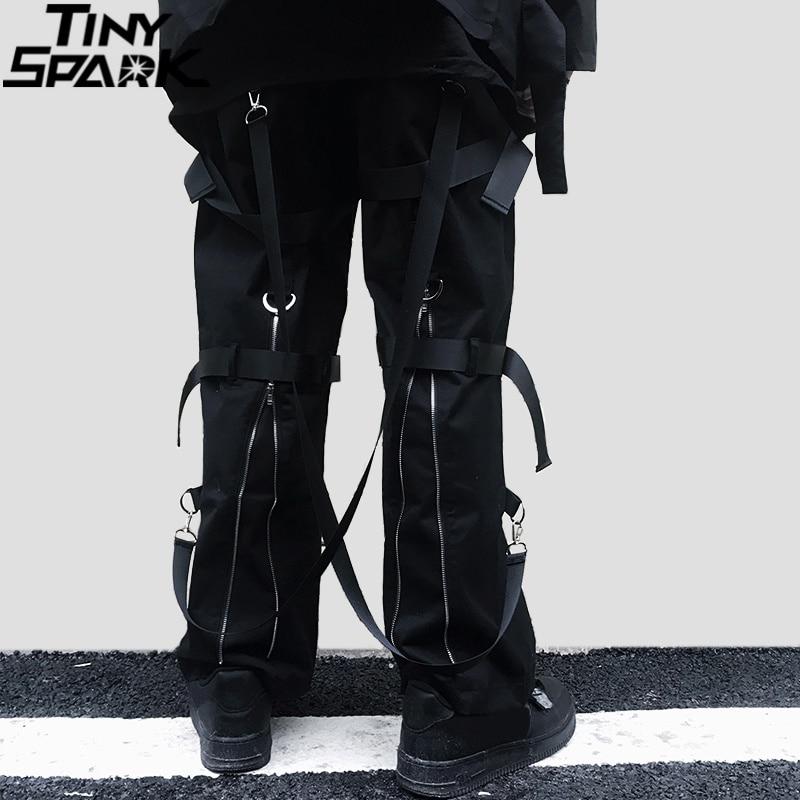 Hip Hop Cargo Pants Streetwear 2019 Men Harajuku Rear Zipper Pants Buckle Ribbon HipHop Joggers Harem Pants Pockets Autumn Black