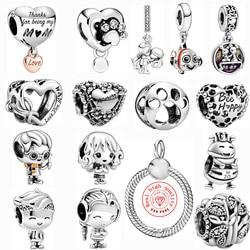 Silver Color Cartoon Boy girl Train bee Mom Bead Fit Pandora Charms Original Bracelets Necklace New Mickey Minnie DIY Jewelry