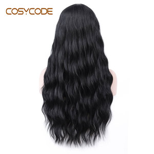 Image 4 - COSYCODE Black Wig with Bangs 24 inch Long Natural Wave Wavy Curly Women Wig Non Lace Synthetic Cosplay Wig Costume 60 cm