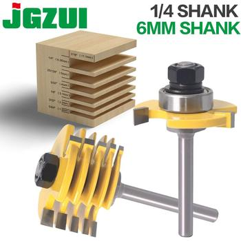"2Pc 6 Piece Slot Cutter 3 Wing Router Bit Set Woodworking Chisel Cutter Tool- 8""& 11/4"" Shank 6mm Shank Tenon Cutter For Woodwor"