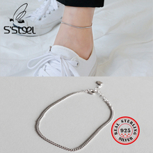S'STEEL Concise 2mm Fine Chain Foot Jewelry Anklets Ankle Bracelets For Women Real Sterling Silver 925 Bijoux Argent Acessorios