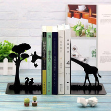 1pair Cute Animal Latin Dance Metal Bookends Vintage Iron Book Stand Holder Shelf Desktop Creative Bookshelf Student Stationery