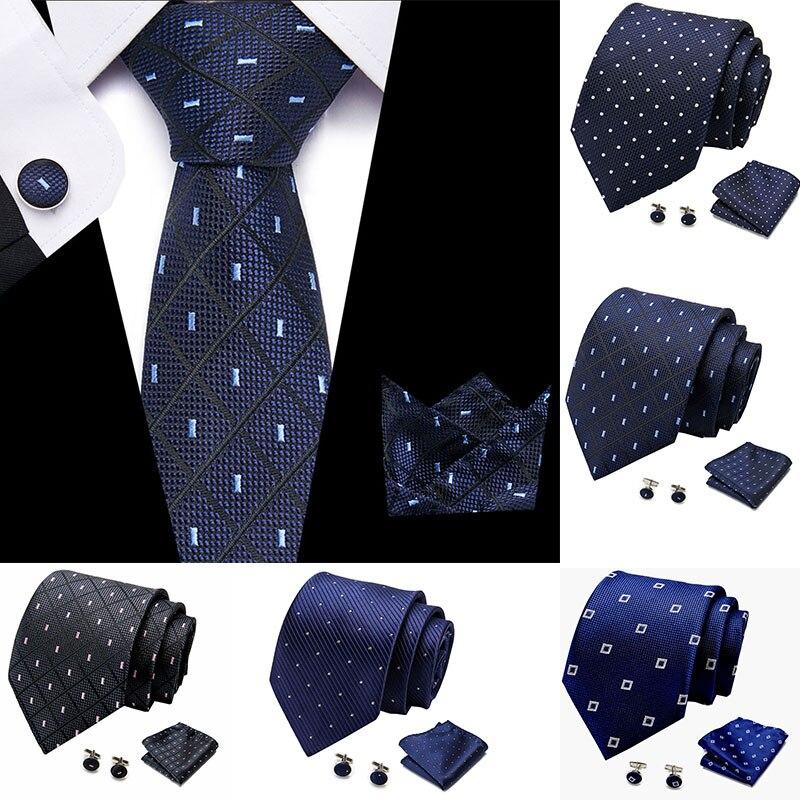 2020 Fashion Black Pink Plaid  7.5cm Width Tie Hanky Cufflinks Sets Men's Silk Ties For Men Formal Wedding Party L10003-S47