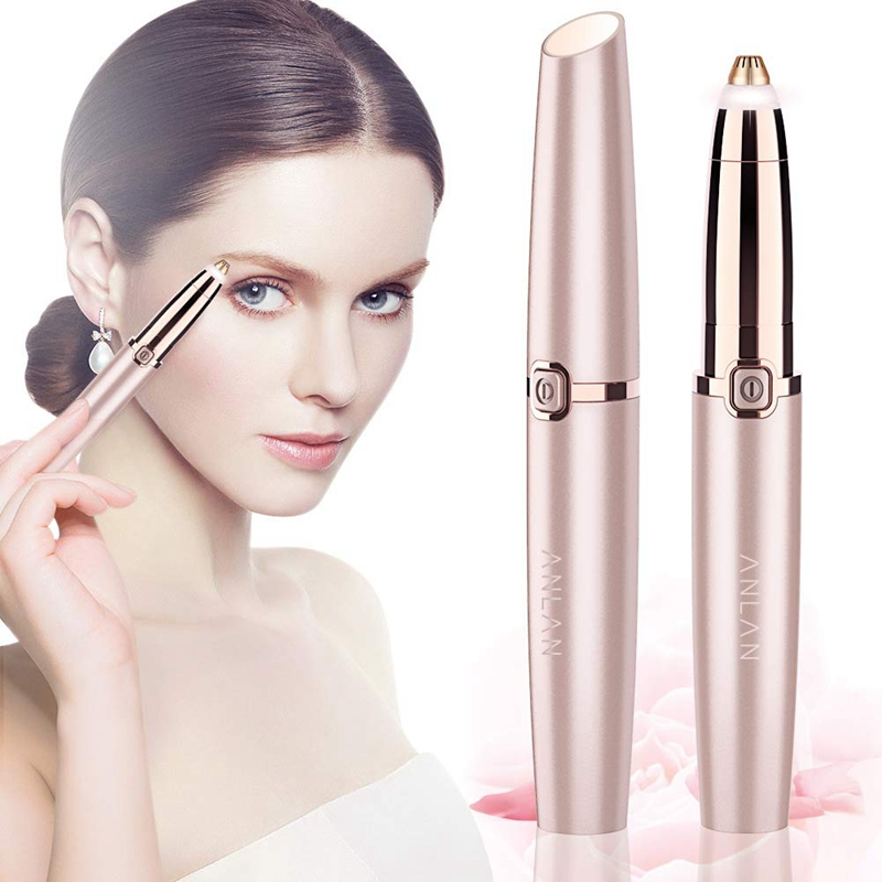 ANLAN Electric Eyebrow Trimmer Makeup Painless Eye Brow Epilator Mini Shaver Razors Portable Facial Hair Remover Women depilator 4