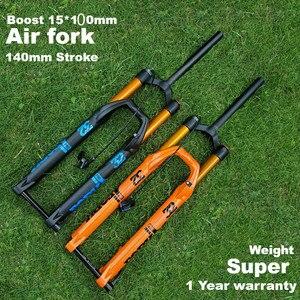 ELYON MTB велосипедная воздушная вилка с усилением отскока 27,5/29er запорная прямая вилка сквозь 15*100 мм ось воздушная упругость вилки шасси мм