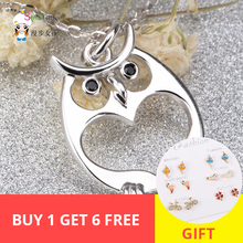 original Freeshipping Cute Owl animal Love Necklace Girl 925 Sterling Silver Pendant For Women Fashion Jewelry Gifts