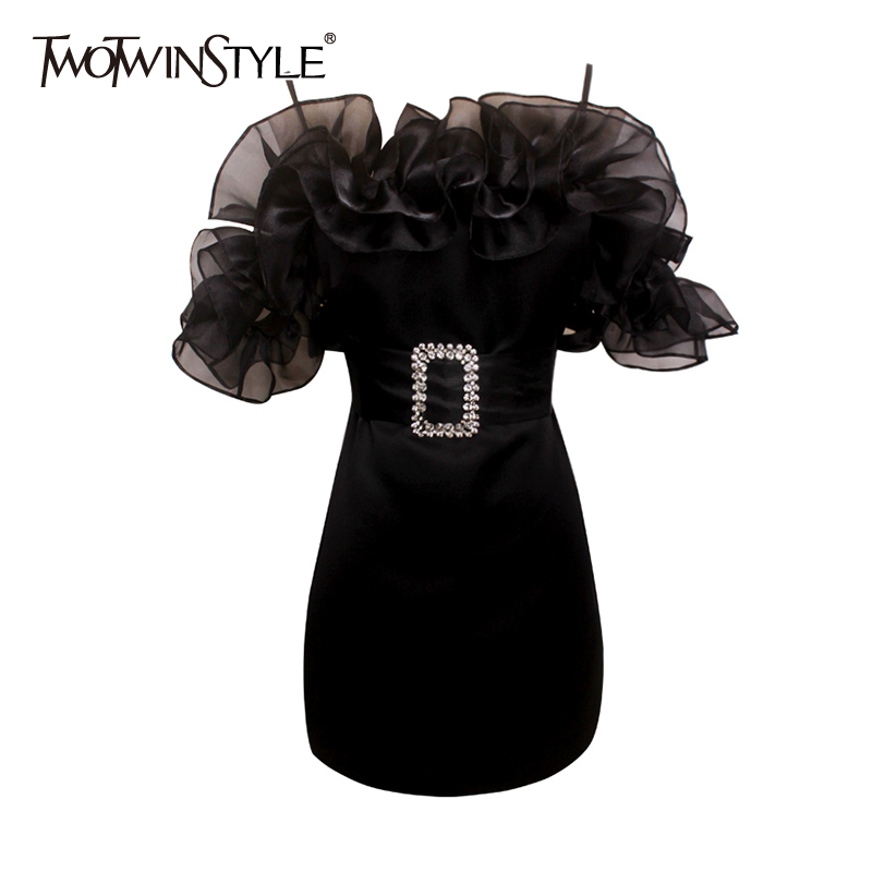 TWOTWINSTYLE Elegant Patchwork Ruffles Dresses For Female Square Collar Spaghetti Strap High Waist With Sashes Mini Dress Women