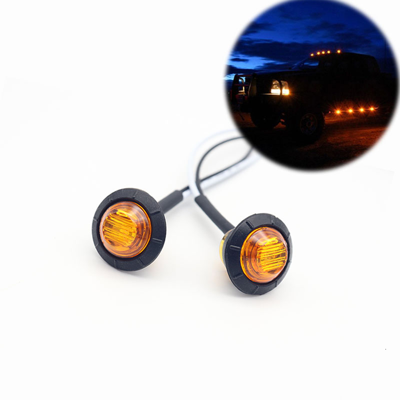 2pcs Waterproof Amber Side Marker Indicators Light LED 12V Bullet Lamp 3/4