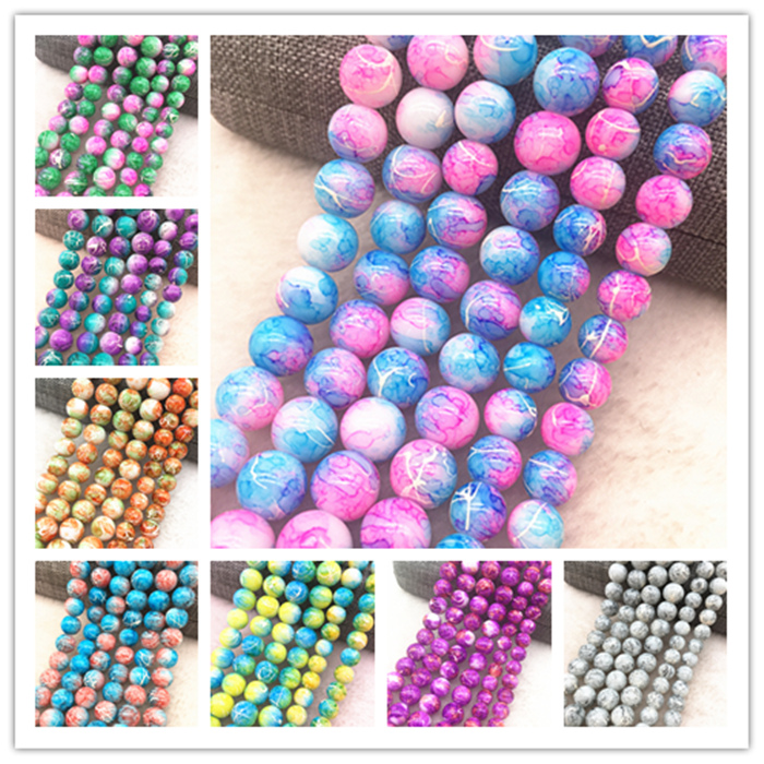 Wholesale 4/6/8/10mm Glass Beads Round Loose Spacer Beads Pattern For Jewelry Making DIY Bracelet Necklace(China)