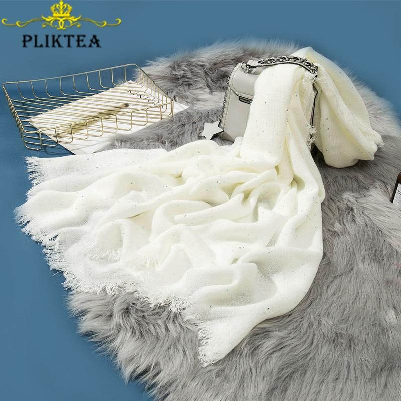 Winter Warm Faux Cashmere White Scarf For Women Korean Sequin Hijab Scarf Merino Wool Female Poncho Pashmina Ladies Stole Shawl