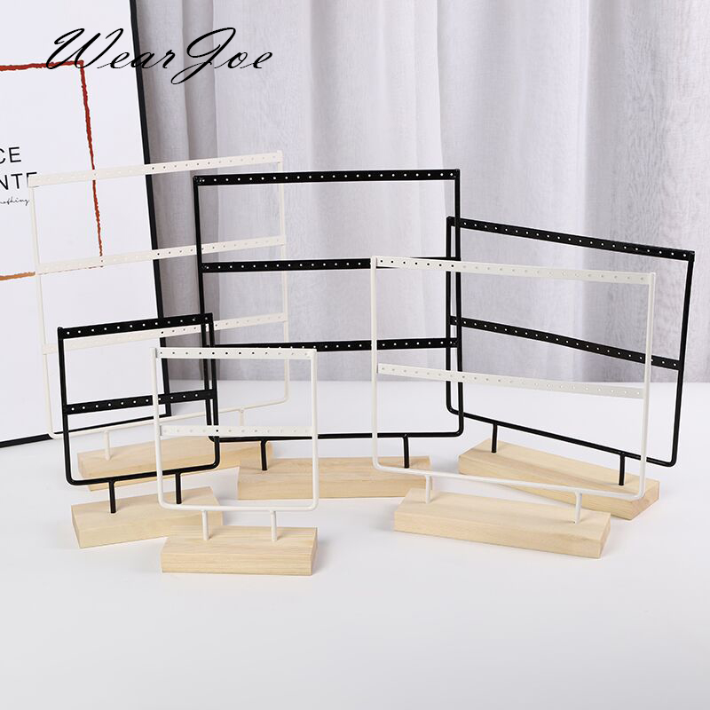 Wholesale Wooden Base Metal Ear Studs Pendant Jewelry Holder Display Stand Organizer Earrings Presenting Rack 24/44/66 Holes