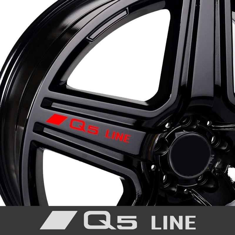 4 шт., автомобильные диски, гоночные наклейки для AUDI Q3 Q5 Q7 Q8 S
