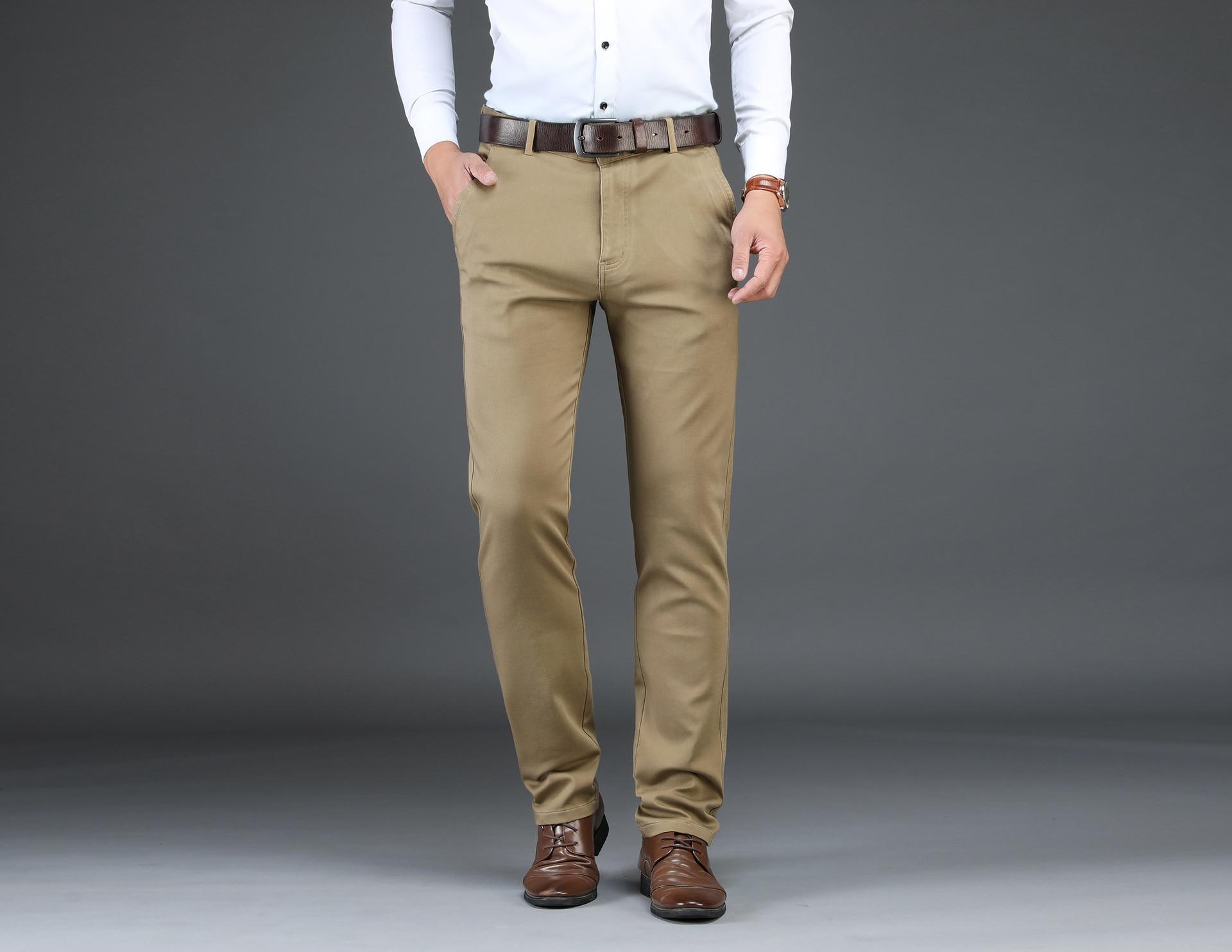 Casual Pants Men Solid Color Business Straight Slim Long Pants 1823 # Men's Autumn & Winter-Multi-color-