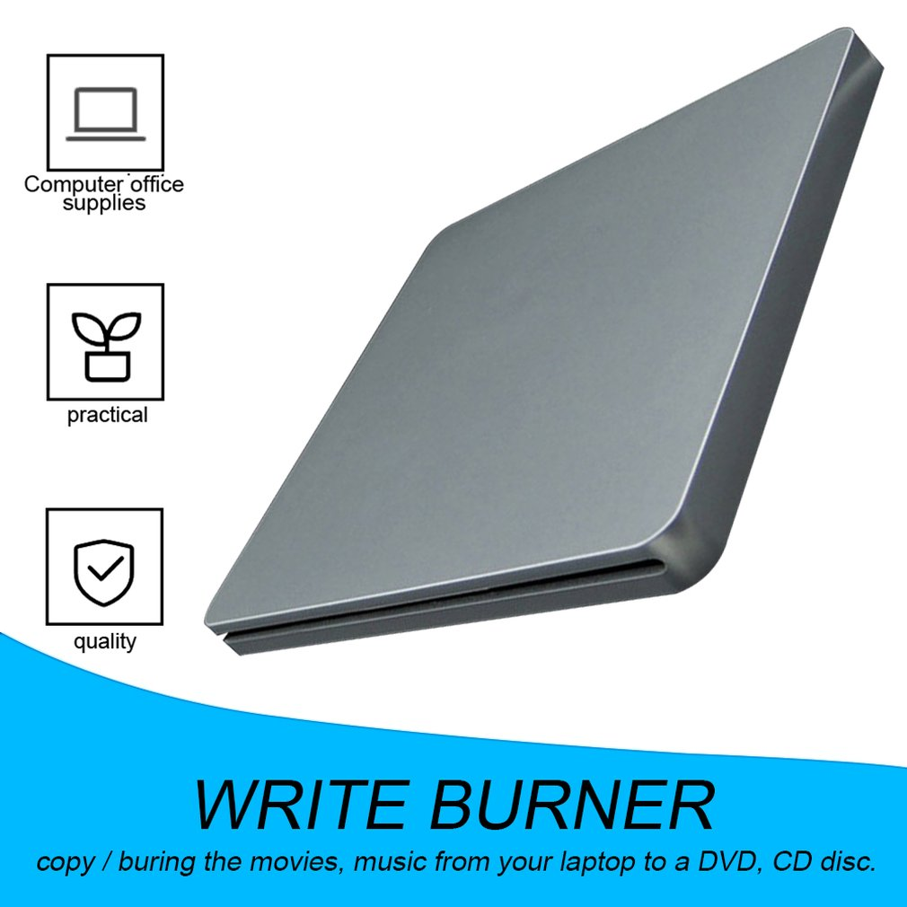 DVD-RW Laptop External DVD Burner Drives Box Enclosure Case Suction Super Slim DVD- RW DVD+ RW Sucker Type Not Support 6x image