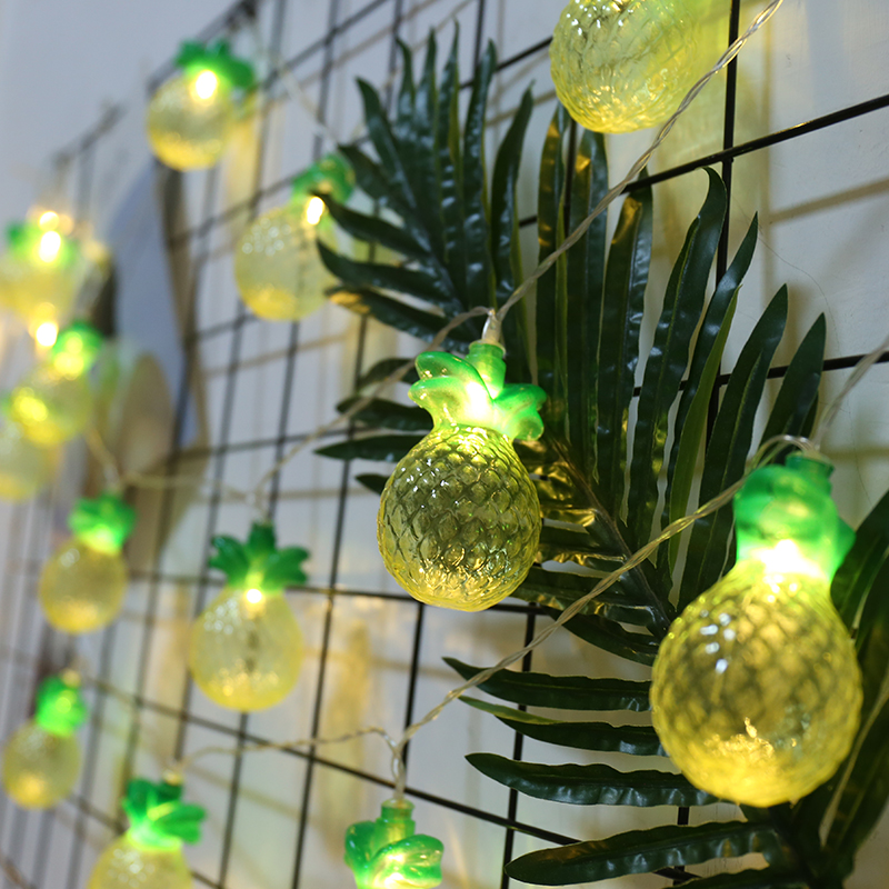 Cute String Lights Twinkly Warm Light Pineapple Garland For Photo LED Chain Outdoor Lighting Hanukkah Decoration Holiday Party