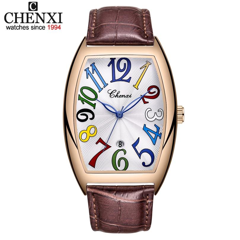 Men Watches Top Brand Luxury CHENXI Tonneau Quartz Watch Men's Leather Waterproof 30M Watches Business Fashion Date Male Clock