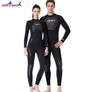Dive&Sail Men Women 3mm Neoprene One Piece Wetsuit Long Sleeve Full Body Warm Rashguard Diving Swimming Surf Scuba Wet Suits(China)
