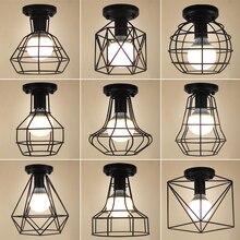 Clásicas lámparas De Techo Led De hierro negro, lámparas De Techo, lámpara De Techo, lámpara Led, Luminaria, jaula, luz De pasillo