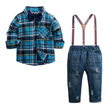Spring Autumn Kids Clothes Set Cotton Toddler Boy Clothes Cotton Long Sleeve Plaid Shirt+Jeans Fashion Children Clothing
