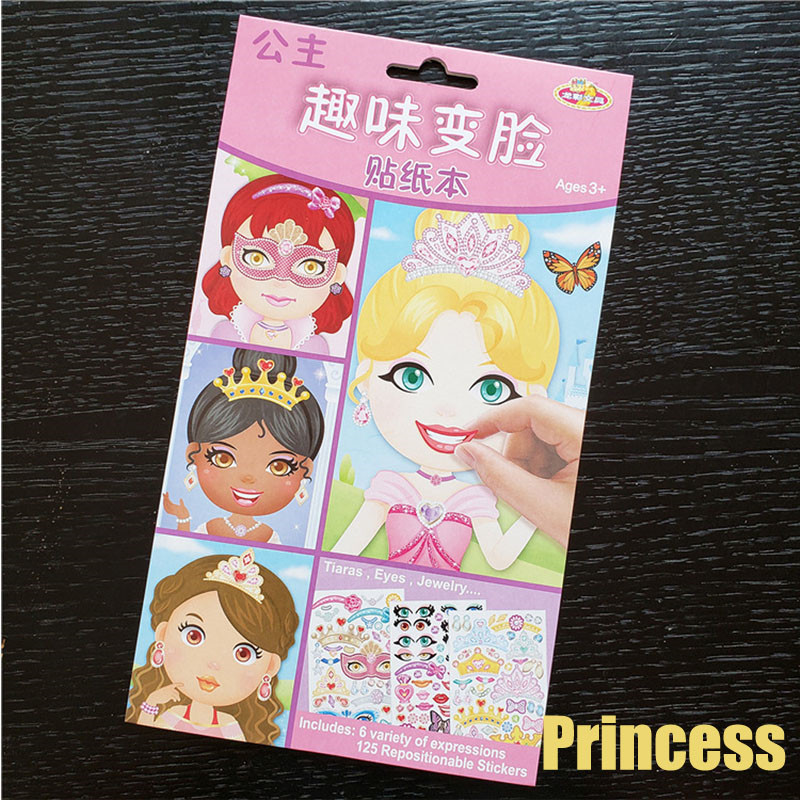 9pcs/set Stickers DIY Cute Stickers Children Puzzle Games Make-a-Face Princess Animal Dinosaur Assemble Toys for Girls Training 5
