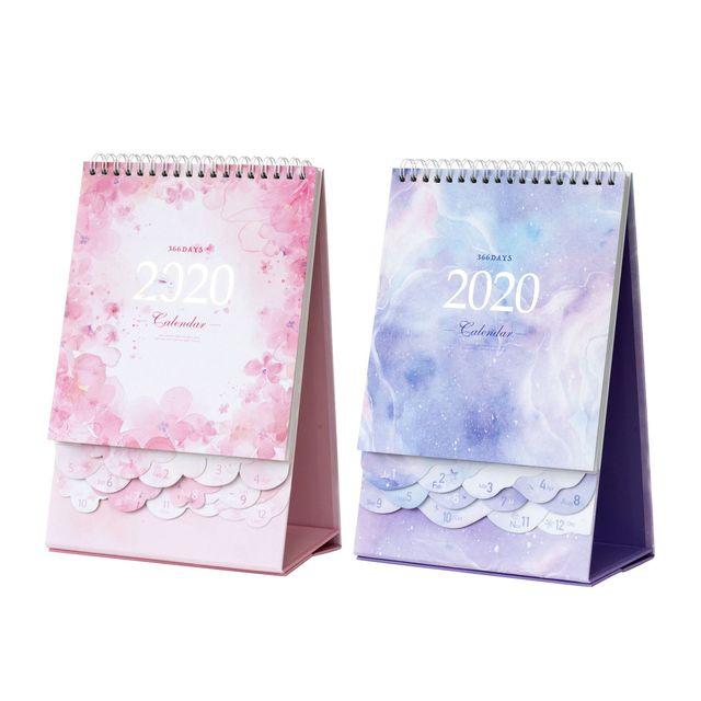 2020 Dreamy Watercolor Series Desktop Calendar DIY Note Memo Coil Calendars Daily Schedule Planner 2019.10-2020.12 4