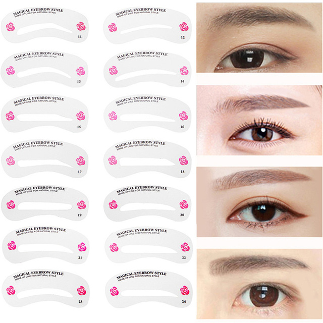 24 Pcs Pro Reusable Eyebrow Stencil Set Eye Brow DIY Drawing Guide Styling Shaping Grooming Template Card Easy Makeup Beauty Kit 5