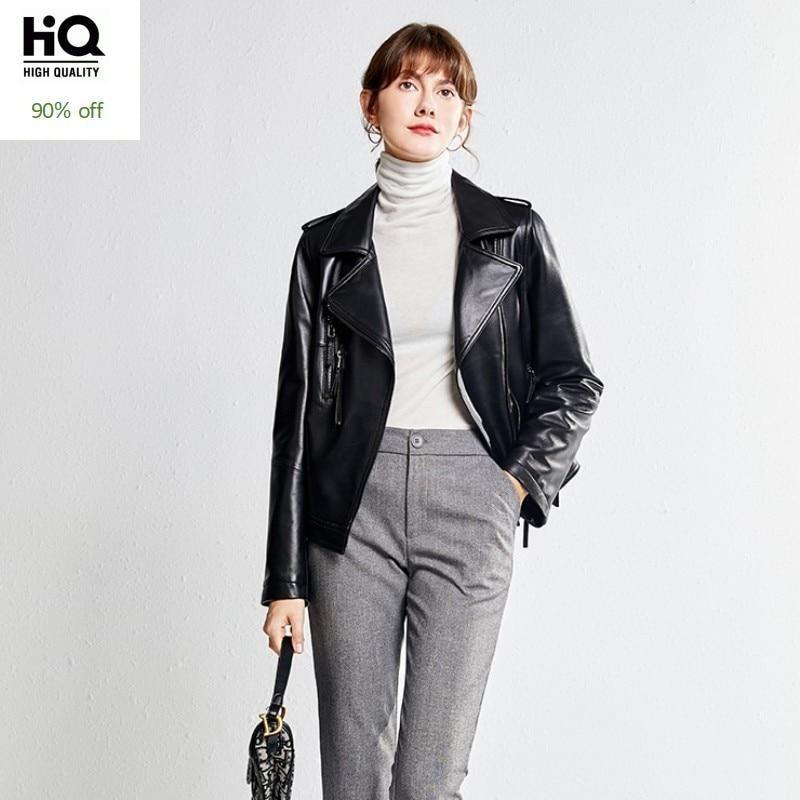 Top Quality Womens Lapel Collar Biker Genuine Leather Jacket Slim Fit Punk Sheepskin Coat Zipper Short Real Jaqueta Couro 3XL