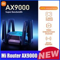 جهاز توجيه شاومي AX9000 2.4G/5G/5G-Game 3 قنوات واي فاي 6 نسخة محسنة 4-Core CPU 1GB RAM 4K QAM 12 جهاز توجيه هوائيات عالية الربح
