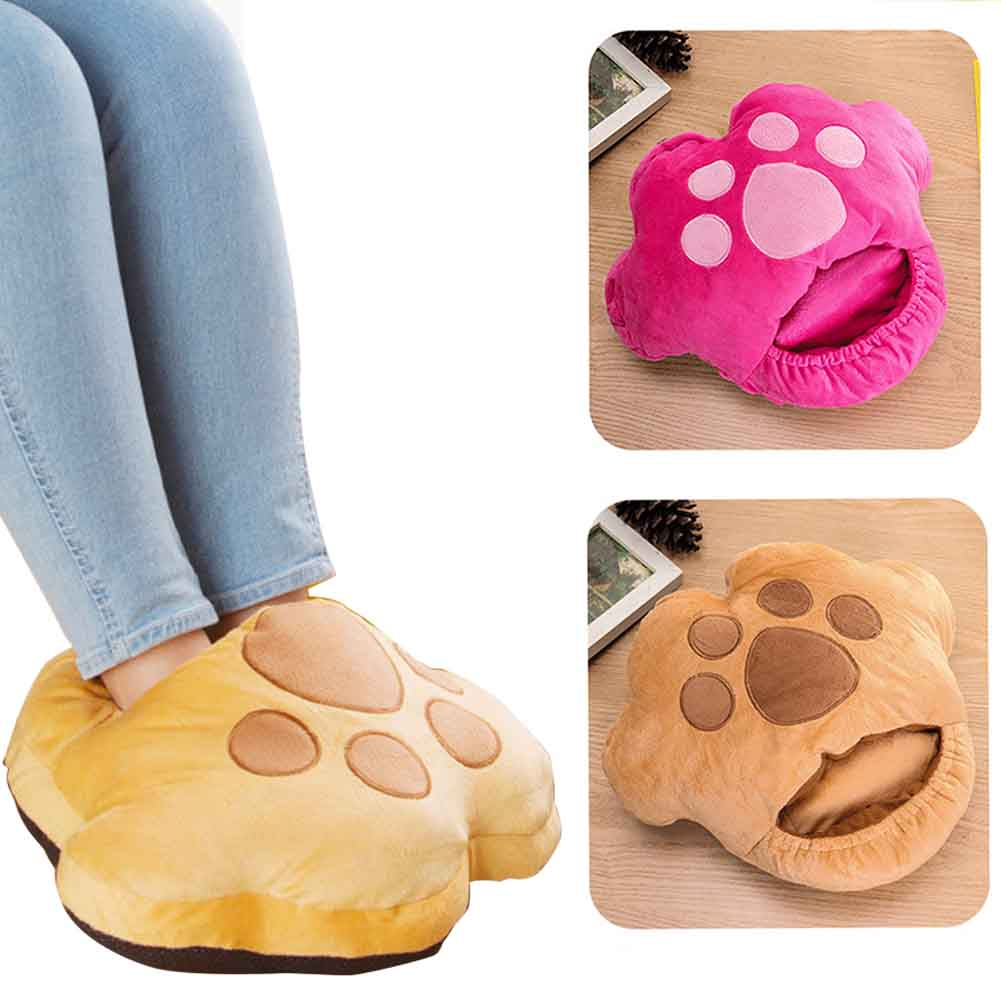 Relaxing Foot Warmer Electric Heated Winter Warm USB Charging Office Home Soft Feet Slippers Dormitory Room Portable Short Plush