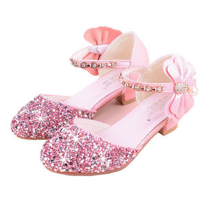 Image 5 - 2019 Girls Bow knot Princess Shoes With High heeled, Kids Glitter Dance Performance Summer Shoes, Purple , Pink & Silver 26 38