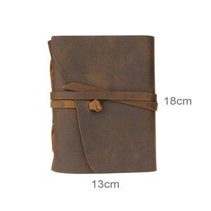 Image 5 - Handmade prawdziwej dziennik ze skóry 5x7 cali środowiska papier Vintage związane notatnik codzienny notatnik dla mężczyzn i kobiet