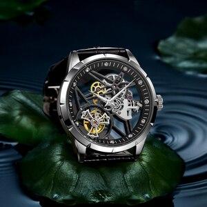Image 4 - スーパー新モデルオリジナルトゥールビヨンビジネスメンズ腕時計トップブランドの高級スケルトンサファイア時計男性レロジオ masculino