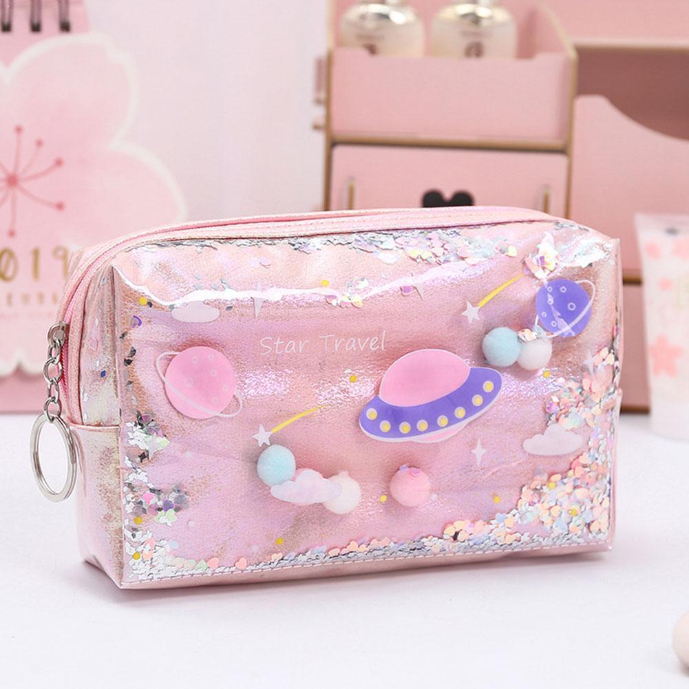 Laser Pencil Case Leather Pen Box Makeup Bag For Girls Escolar Colegio Supplies Estuches Para Travel School El Material Gif T6G3