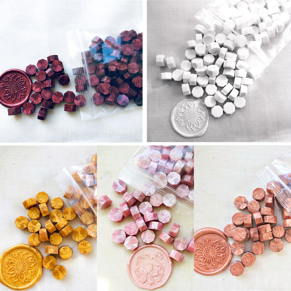 100Pcs/Lot Retro Octagon Stamping Sealing Wax Beads Wax Seal Stamps For Envelope Documents Wedding Birthday Party Invitation
