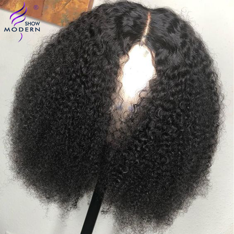 Modern Show Hair Mongolian Afro Kinky Curly Wig Pre Plucked Lace Frontal Human Hair Wigs For Black Women Remy Hair Wig
