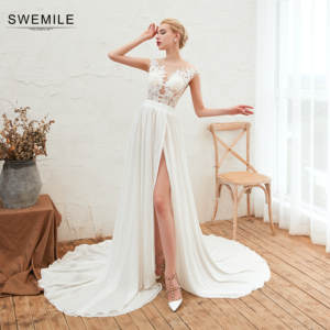 SWEMILE Romantic Lace Beach Style Wedding Dress Vestido De Noiva Sexy Tulle Back Chiffon Side Slit Wedding Gowns Robe De Mariee