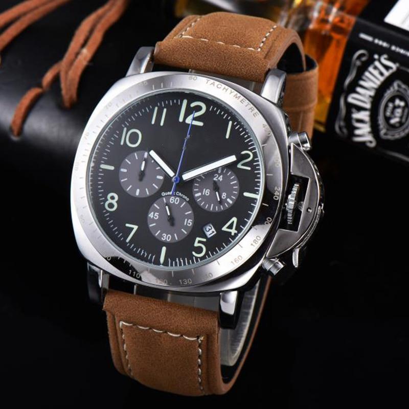 Top Luxury Brand Sport Wrist Watch Fashion Mens Watches Chronograph Quartz Military Genuine Leather Relogio Masculino